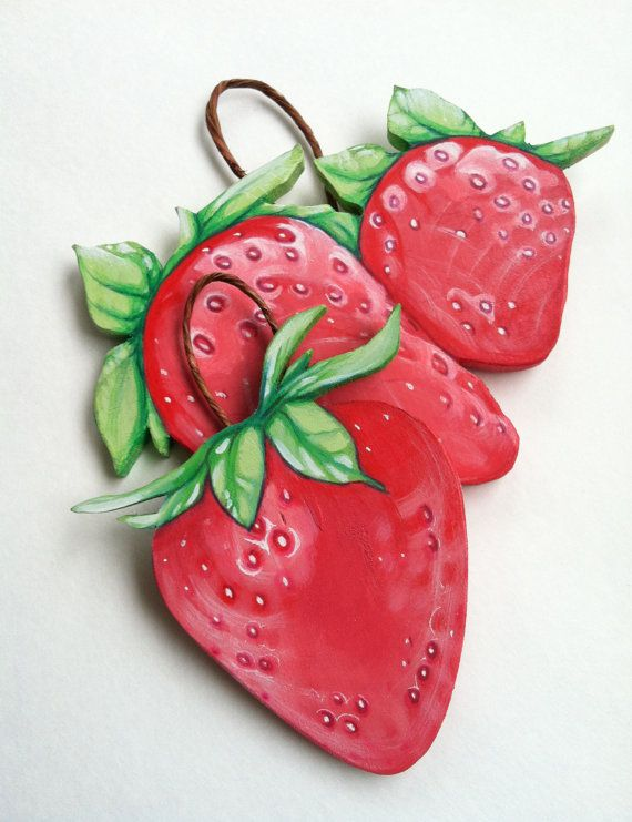 Strawberries Wooden Folk Art Sign Wall Decor by TheArtfulBouquet, $24.00