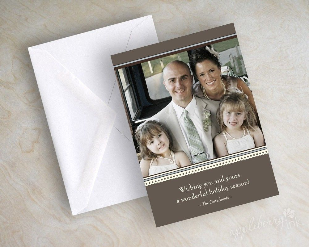 5x7 Christmas holiday photo card with 1 photo - elegant country, brown, blue, ivory. www.appleberryink.com