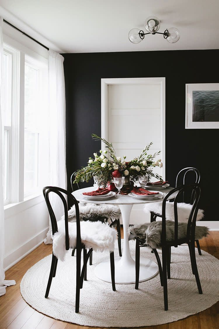 16 Beautiful Rooms That Prove Black Walls Are Totally Accessible Dining Room Design Black Walls Dining Room Decor