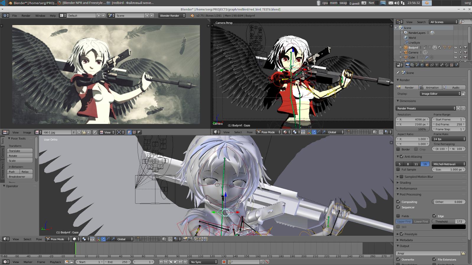 3d blender anime rigged girl angel Anime 3D Pinterest