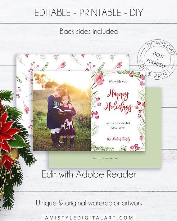 Photo Christmas Card Template, With Glamorous Watercolor Christmas  Poinsettia Flower On A Striped Background.