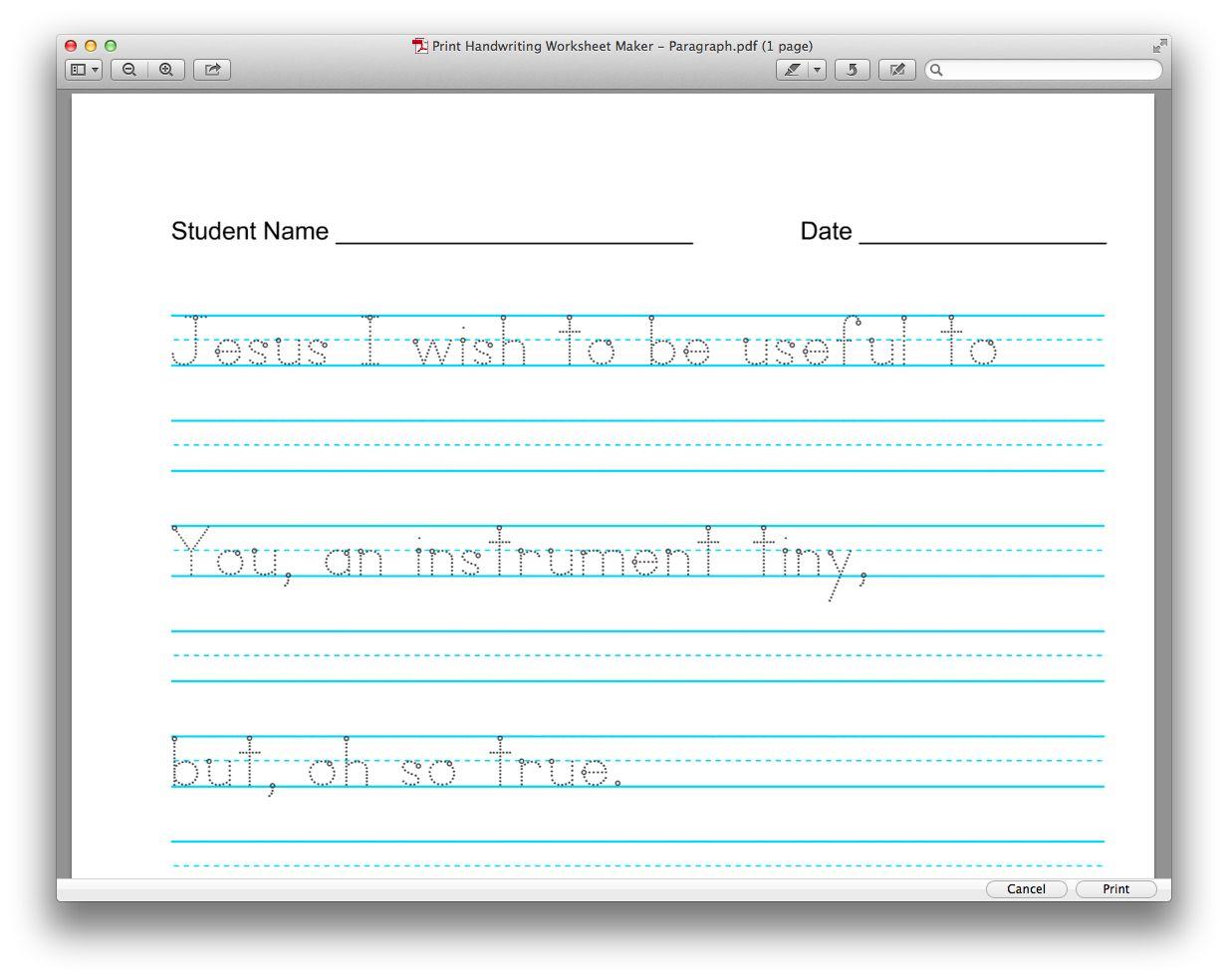Useful And Free Resource Customize Your Copywork Copywork Handwriting Worksheet Maker Handwriting Worksheets [ 984 x 1233 Pixel ]