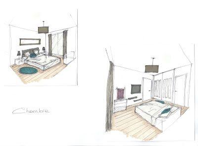 Croquis d 39 ambiance d coration d 39 une chambre dessins - Croquis chambre a coucher ...