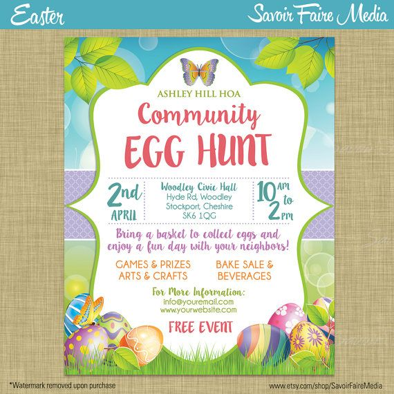 Easter Egg Hunt Flyer Invitation Poster / Template Church School ...