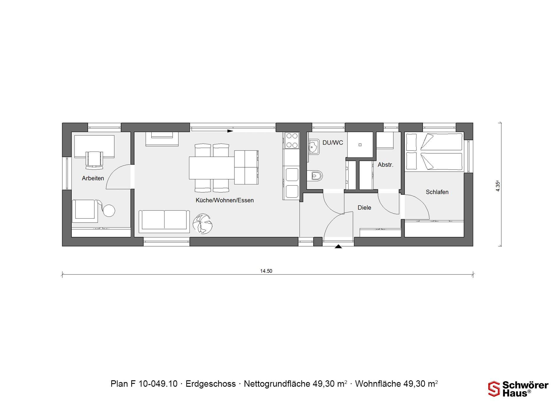 grundriss erdgeschoss flyingspace e 10 minihaus. Black Bedroom Furniture Sets. Home Design Ideas