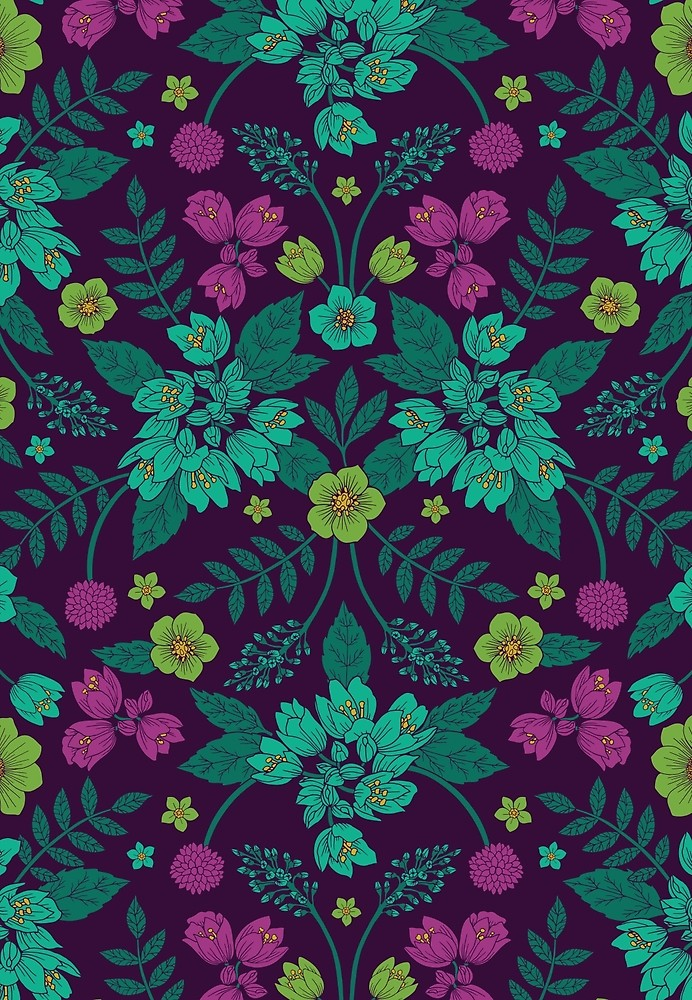 Watercolor floral blue purple yellow green Wallpapers