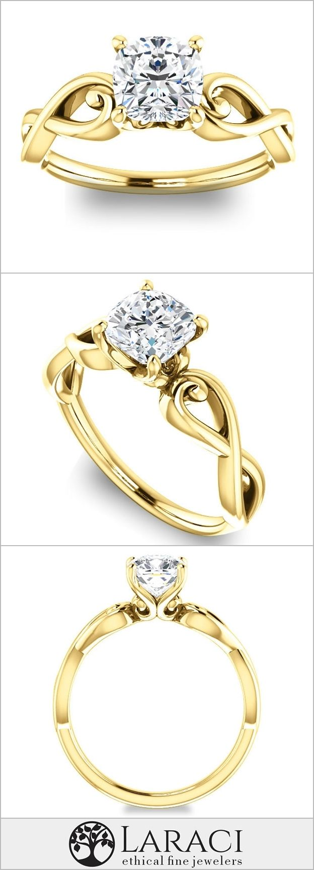 K yellow gold solitaire engagement ring set with a ct mm