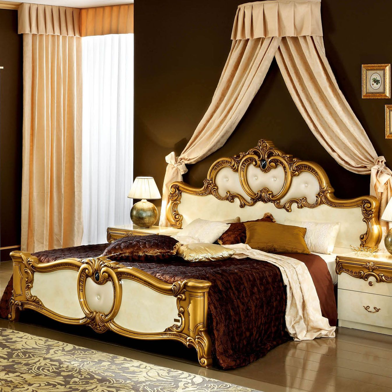 Barocco panel bed in ivory gold by esf furniture