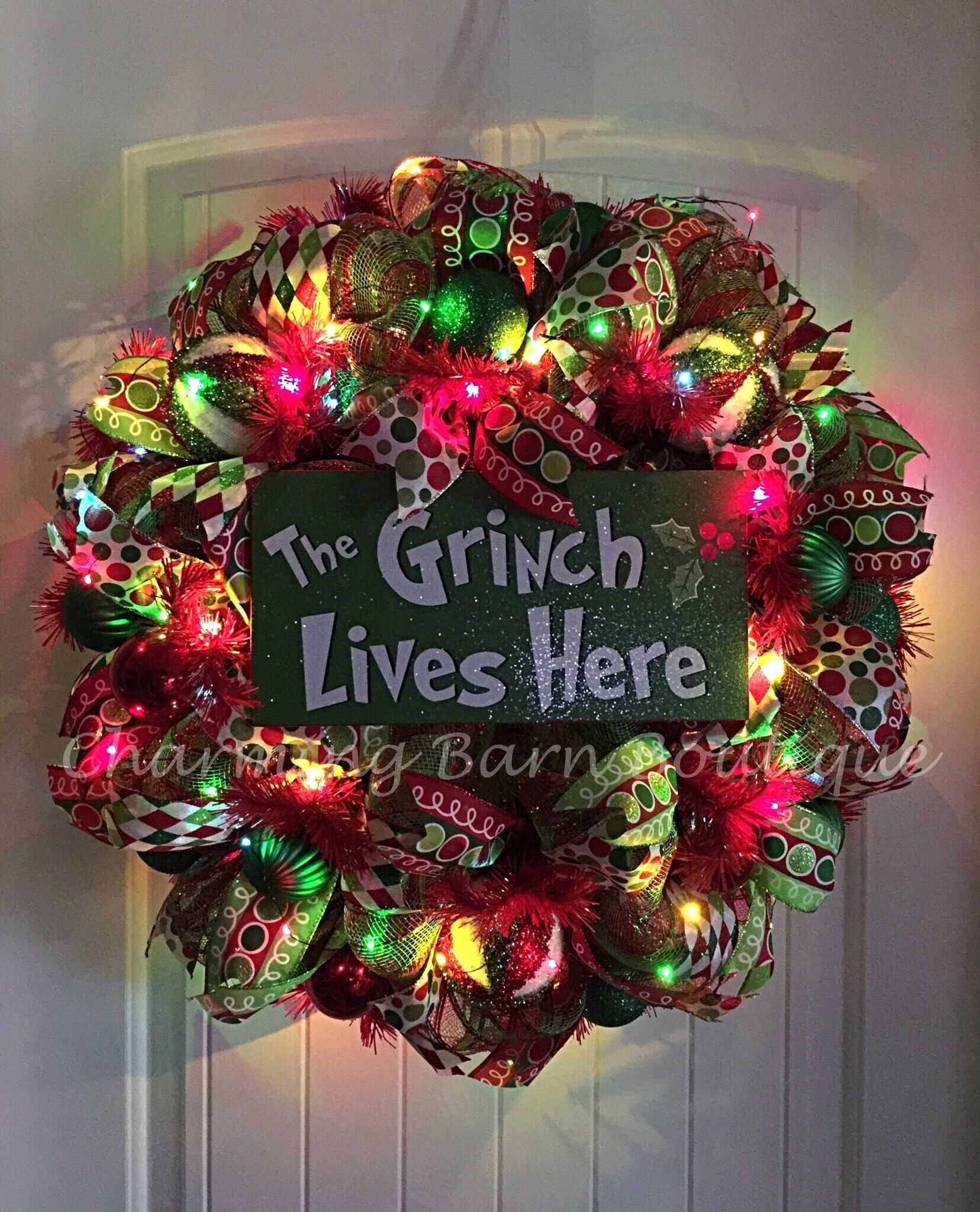 Christmas Wreath Light Up Grinch Lighted The