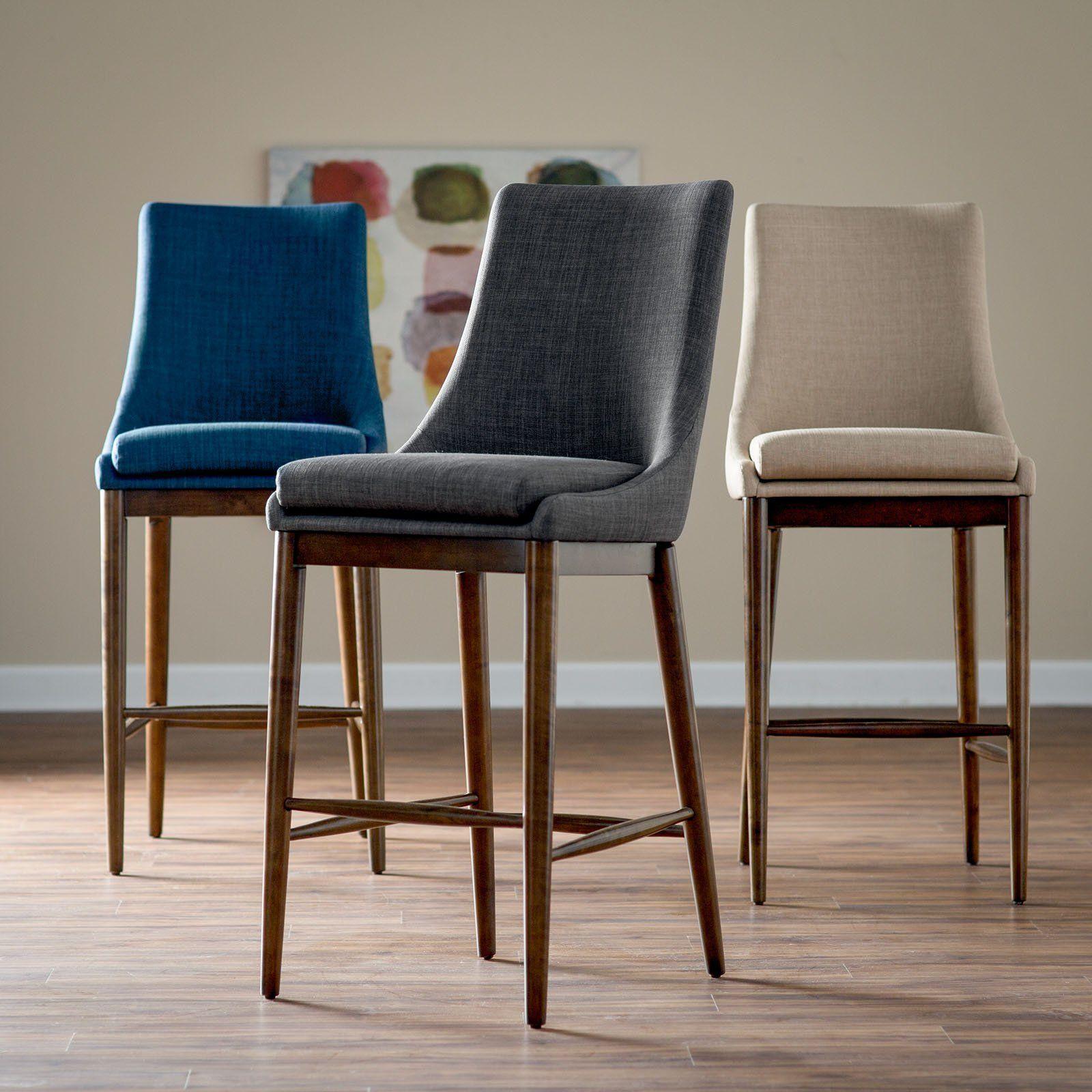 Belham Living Carter Mid Century Modern Upholstered Bar Height Stool From