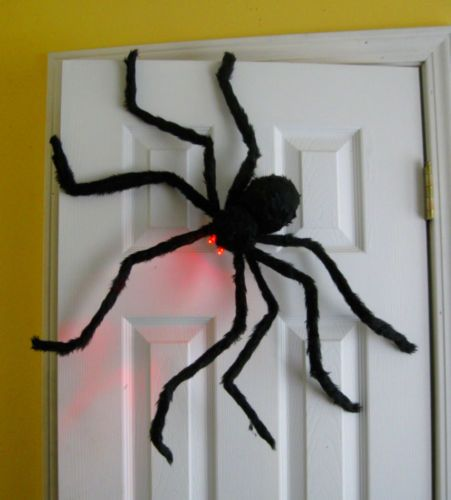 Prextex-Huge-4-Ft-Black-Hairy-Spider-Tarantula-with-LED-Eyes-for - spiders for halloween decorations