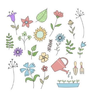 Set of doodle flowers and plants vector 4460546 - by linor82 on VectorStock®