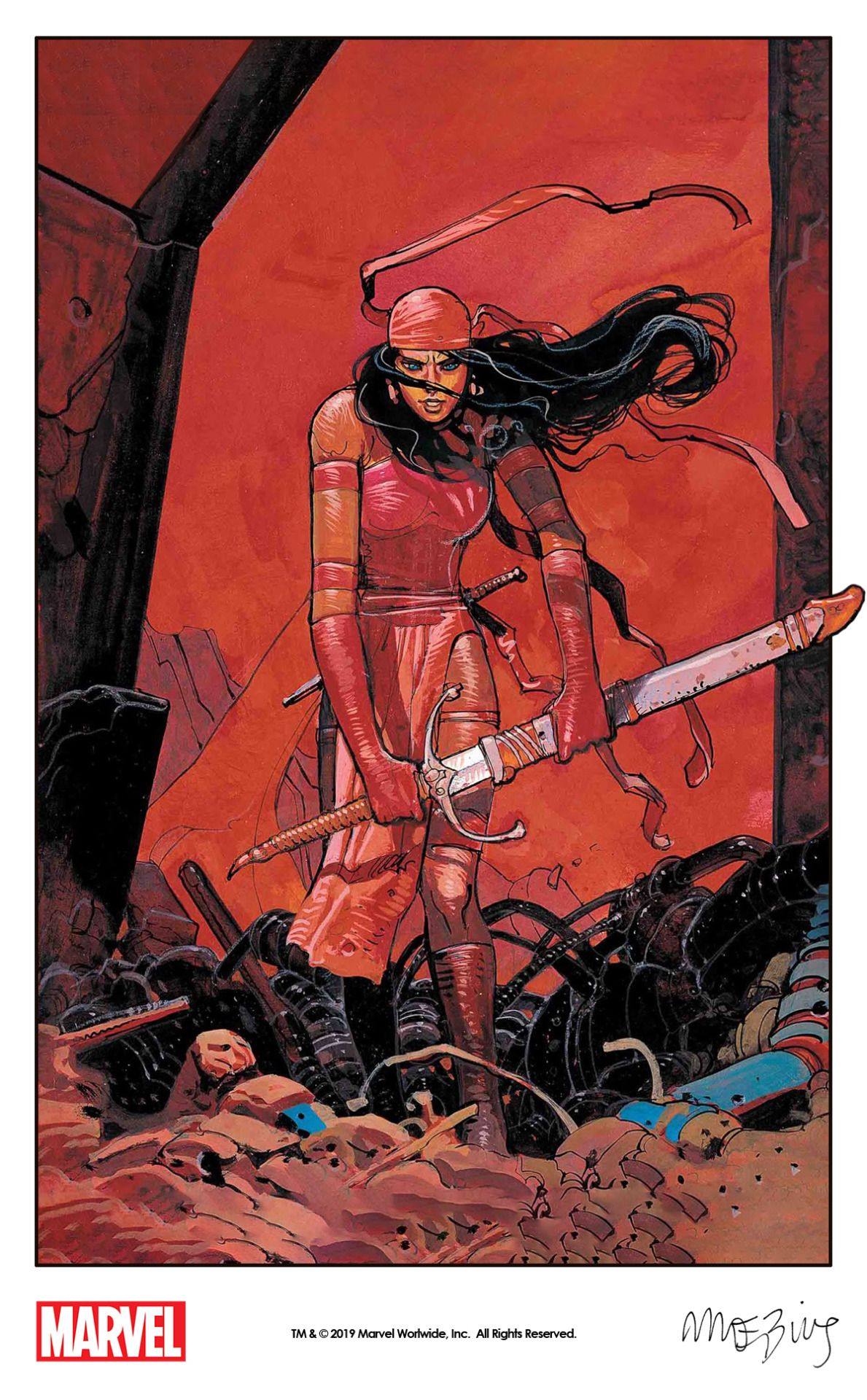 Elektra By Moebius From A Marvel Press Poster 1990 That Will Used As The Hidden Gem Variant Cover For Savage Avengers 1 201 Punisher Marvel Book Art Marvel