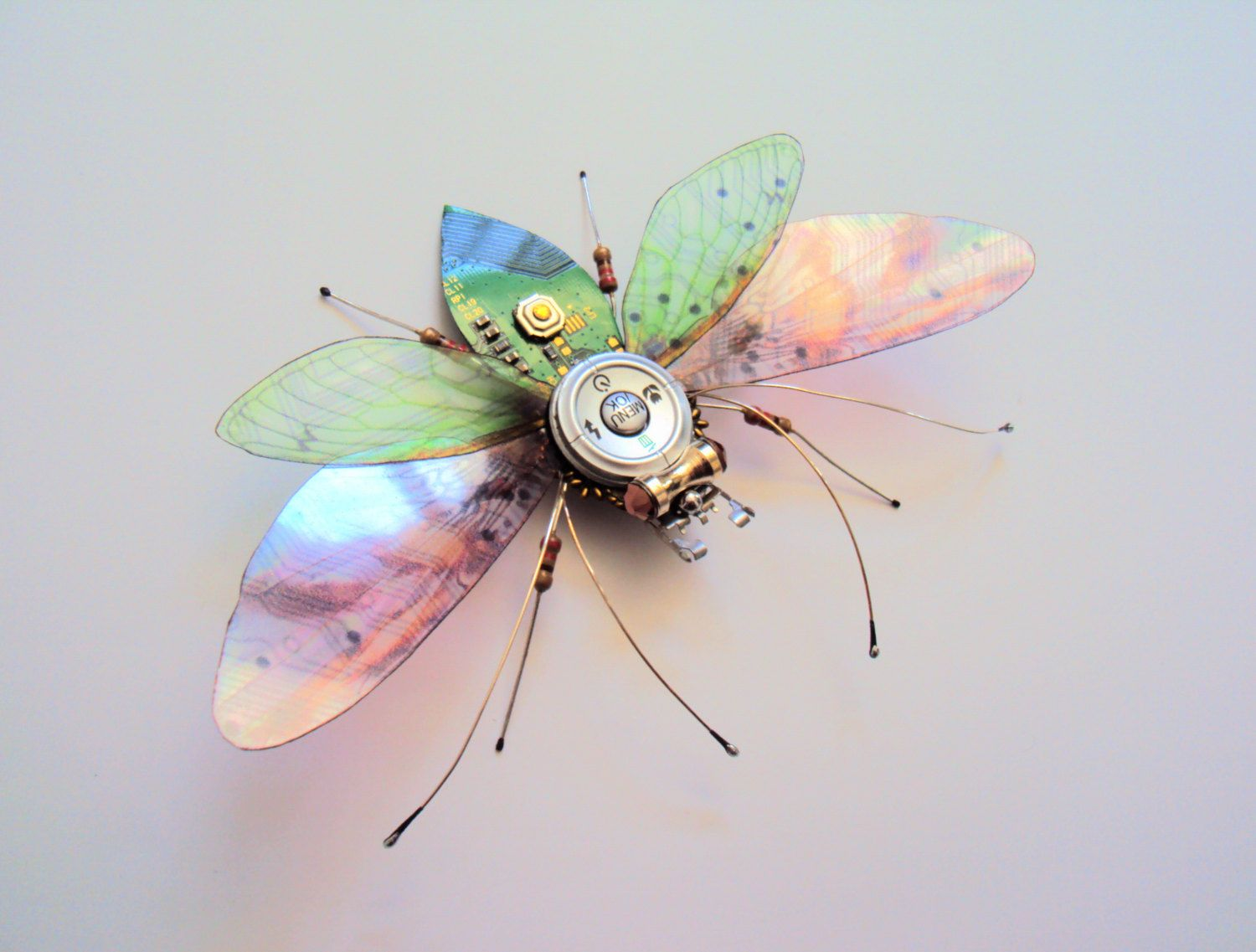 The Dainty Embellished Peach Blossom Bug Circuit Board Insect Pcb Sculptures Artist Upcycles Old Boards Into Art By Dewleaf On Etsy