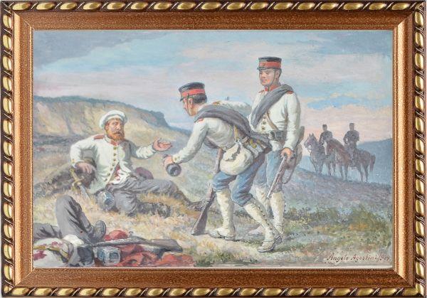 """ANGELO AGOSTINI (1843-1910). """"Cena de Batalha na Guerra do Paraguai"""", aquarela, 23 X 16. Ass"""