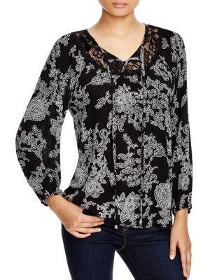 CIRANA Lace Inset Printed Blouse | Bloomingdale's