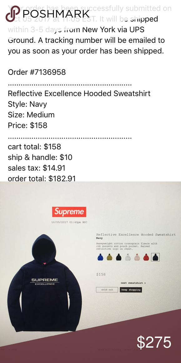 6d64c26dab8 Supreme reflective excellence hooded sweatshirt Supreme reflective  excellence hooded sweatshirt navy Supreme Sweaters Crewneck