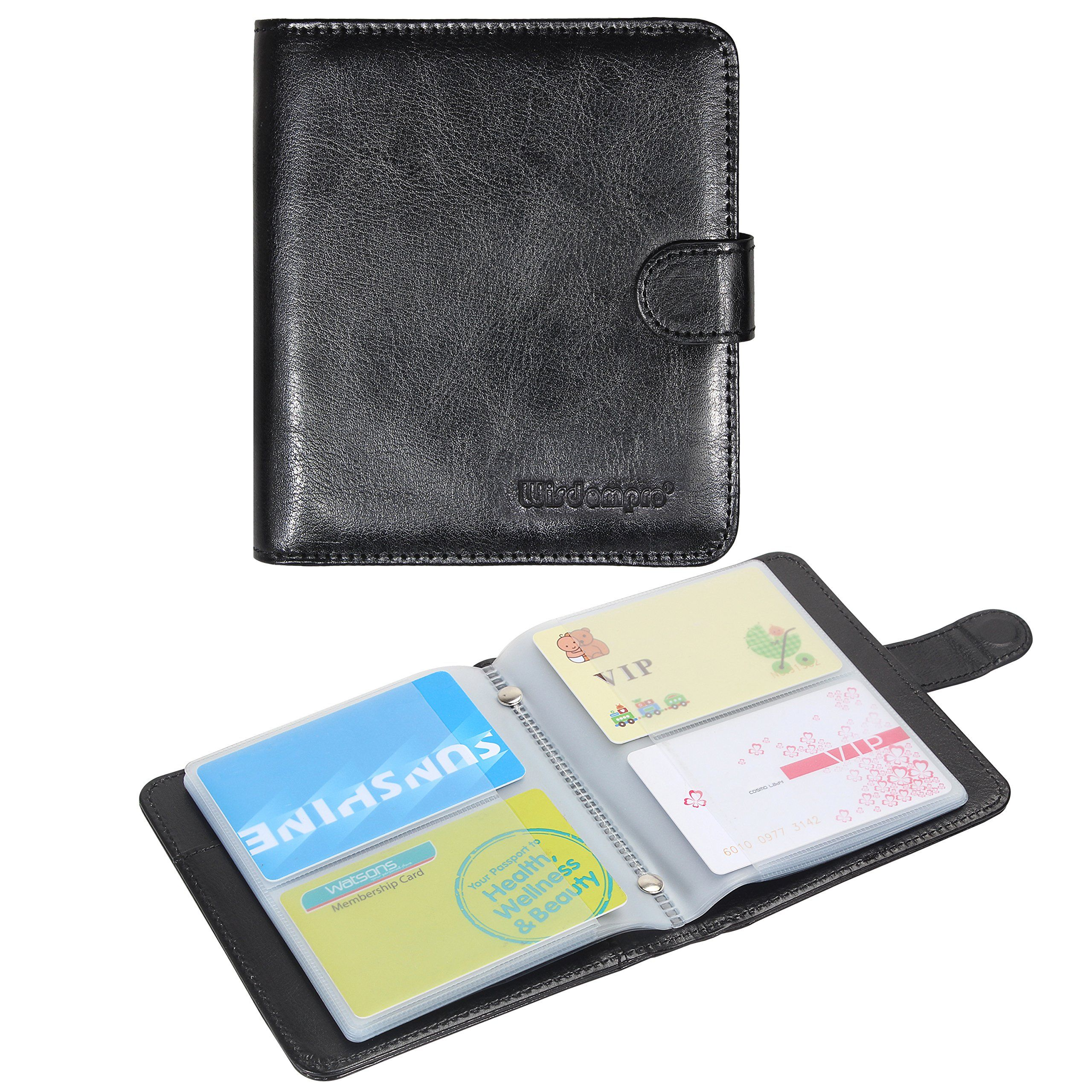 Business card book organizer wisdompro premium pu leather wallet business card book organizer wisdompro premium pu leather wallet name credit id card holder case with magnetic shut for 128 business cards build in 64 colourmoves