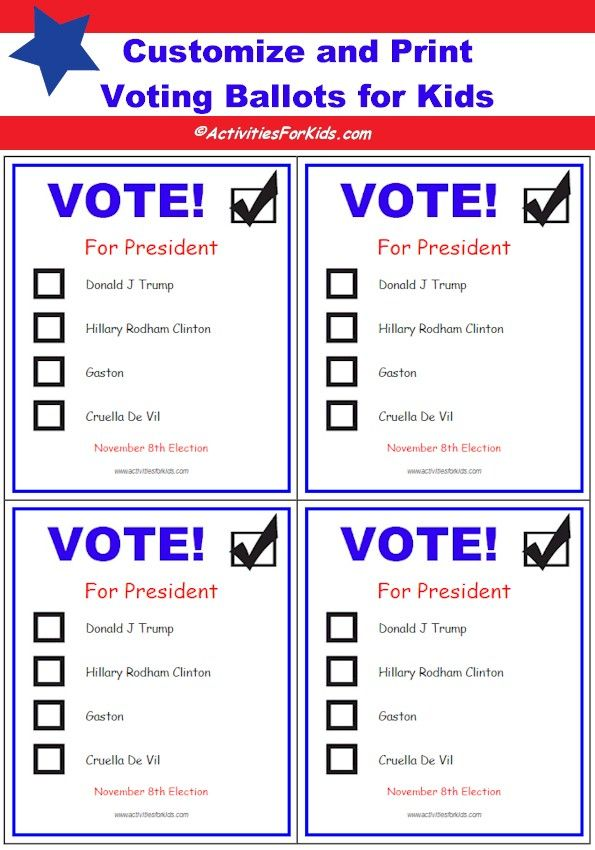 Free Printable Ballots for Kids - Classroom Voting Ballot ...