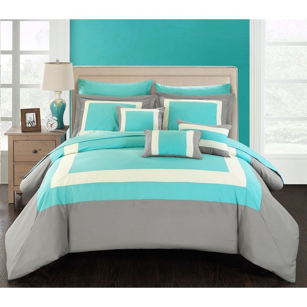 Queen Turquoise Grey White Piece Bed In A Bag With Sheet Set