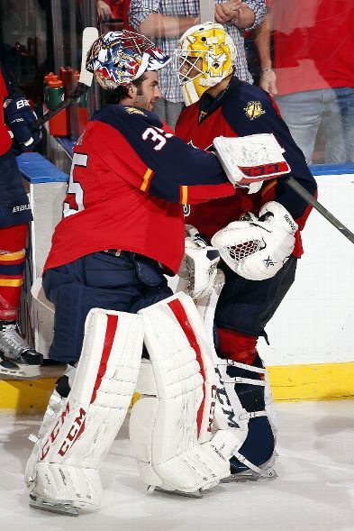 SUNRISE, FL - OCTOBER 27: Goaltenders Roberto Luongo #1 and Al Montoya #35 of the Florida Panthers celebrate their 4-1 win against the Colorado Avalanche at the BB&T Center on October 27, 2015 in Sunrise, Florida. (Photo by Eliot J. Schechter/NHLI via Getty Images)