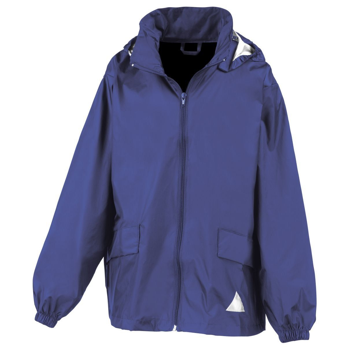 Result Kid's Windcheater in a Bag Royal XL. Two lower front pockets.  concealed elasticated