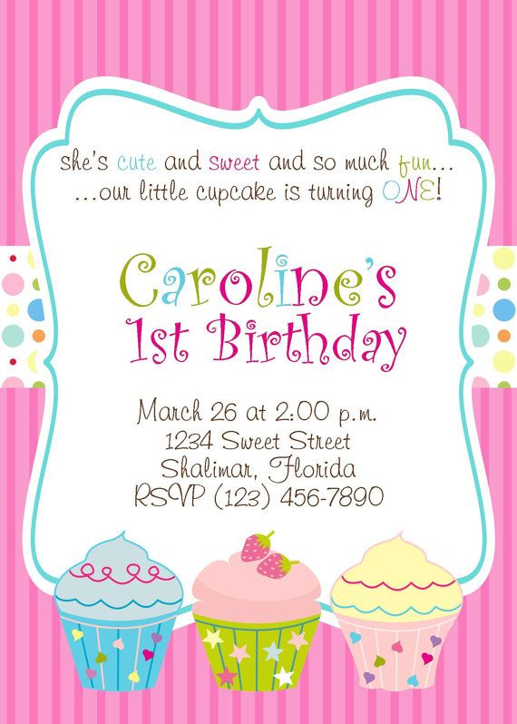 Cupcake Birthday Invitations Template For Evan
