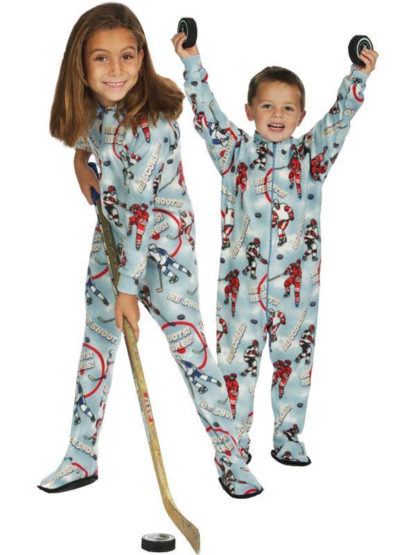 3ba86d4a1 Hockey GLOW Kids Footed Pajama