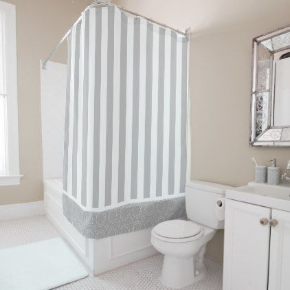 Gray White Striped Shower Curtain