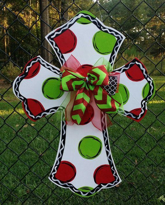 Christmas Decoration Christmas Cross door by Thepolkadotteddoor