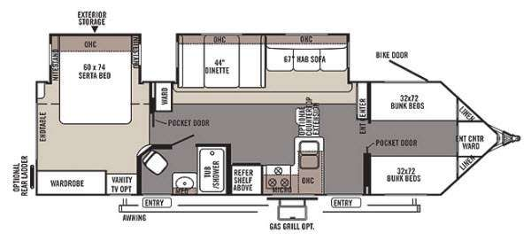 Camper Floor Plans With Bunk Beds Google Search Rv Living