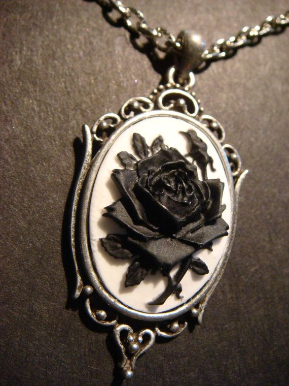 7b7af9cafb1 Black and White Rose Cameo Necklace in Antique Silver ...