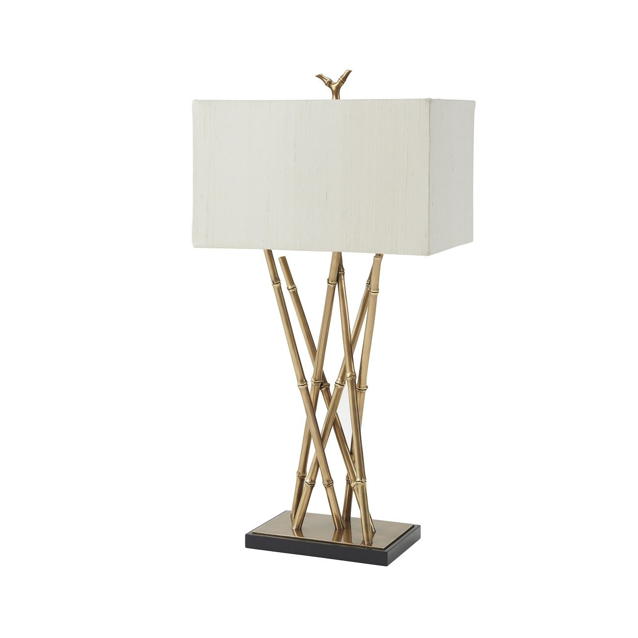 A Finely Cast Br Bamboo Table Lamp The Gathered Body On Black Lacquered And Platform Base Surmounted By Fabric Shade With