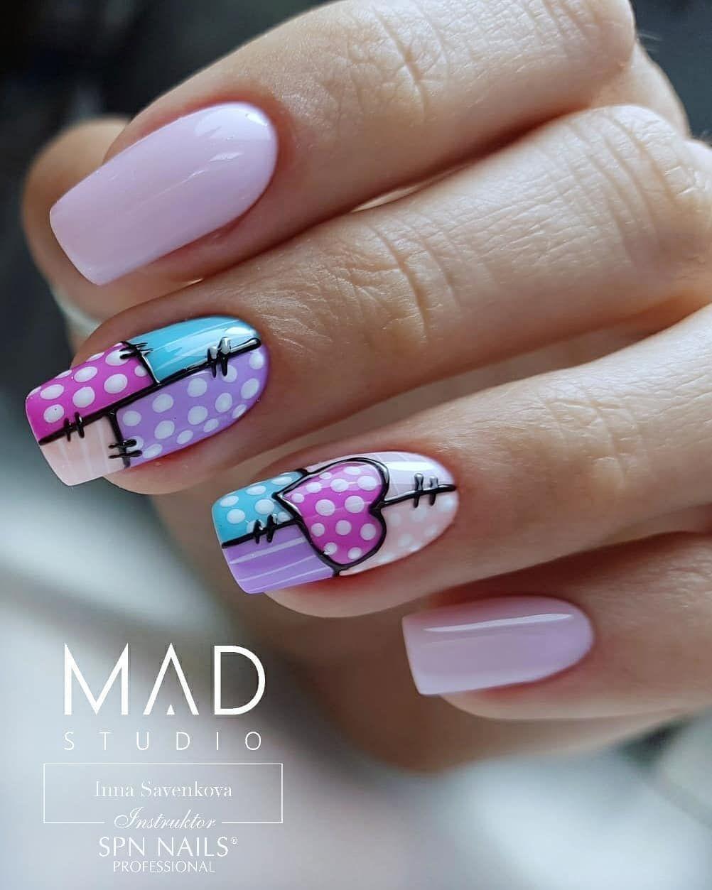 Patchworkowe paznokcie 🤩 Kto chętny na takie zdobienie?  #amazingnails #instanails #instagood #perfectnails #perfectmanicure #madstudioteam…