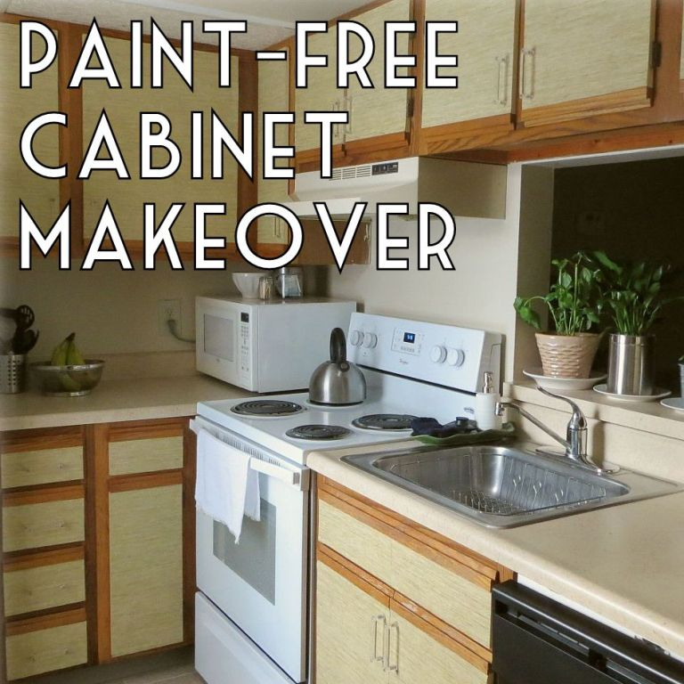 Renting Apartment: How To Make Over Kitchen Cabinets Without Paint Diy Faux