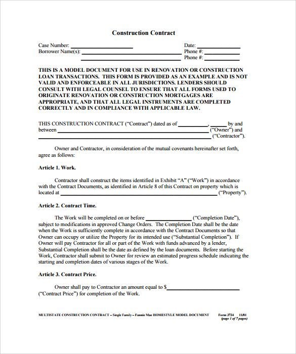 Construction Contract Example   Construction Contract Template