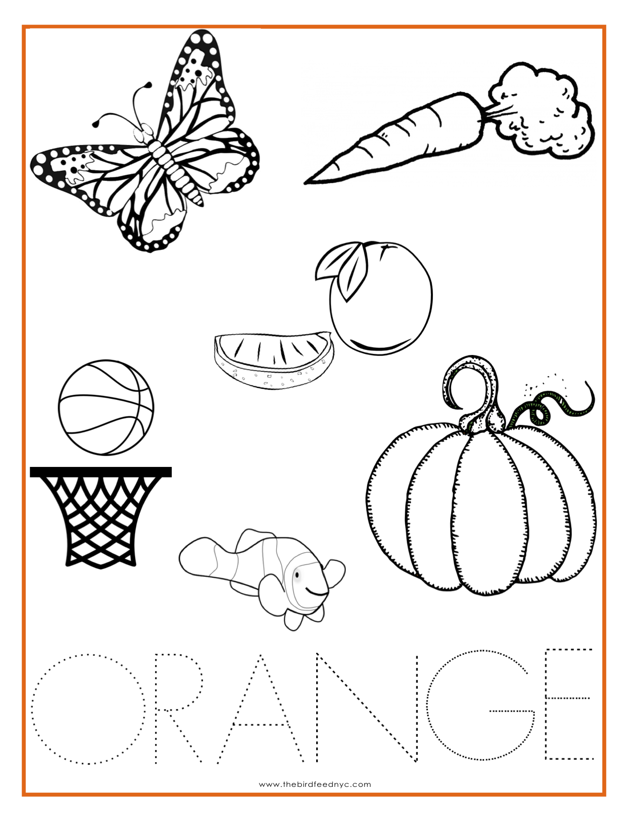 Color Orange Coloring Pages Activities