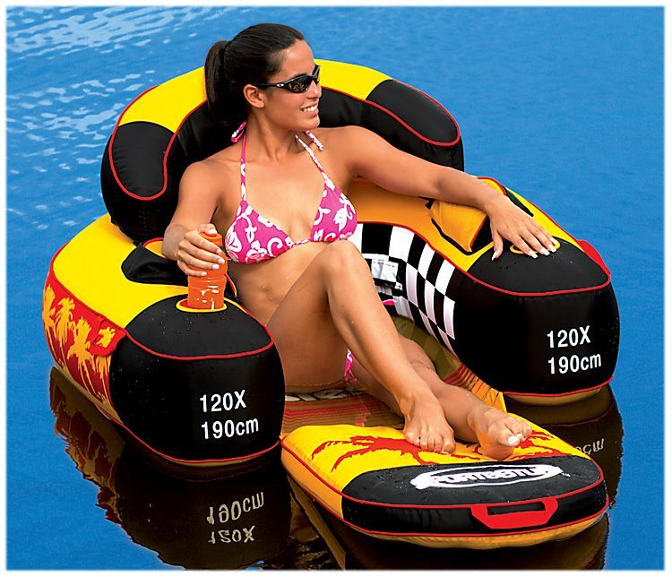 SwimWays 80106 Float A Round Swimming Pool Mesh Seat Adult Floating Chair Blue