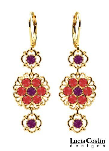 Gorgeous Dangle Earrings by Lucia Costin with Filigree Elements, 4 Petal Flowers, Violet and Red Swarovski Crystals; 14K Yellow Gold over .925 Sterling Silver; Handmade in USA Lucia Costin. $63.00. Embellished with purple and light siam Swarovski crystals. Unique jewelry handmade in USA. Mesmerizing enough to wear on special occasions, but durable enough to be worn daily. Splendid combination of dangle elements. Floral earrings amazingly designed by Lucia Costin