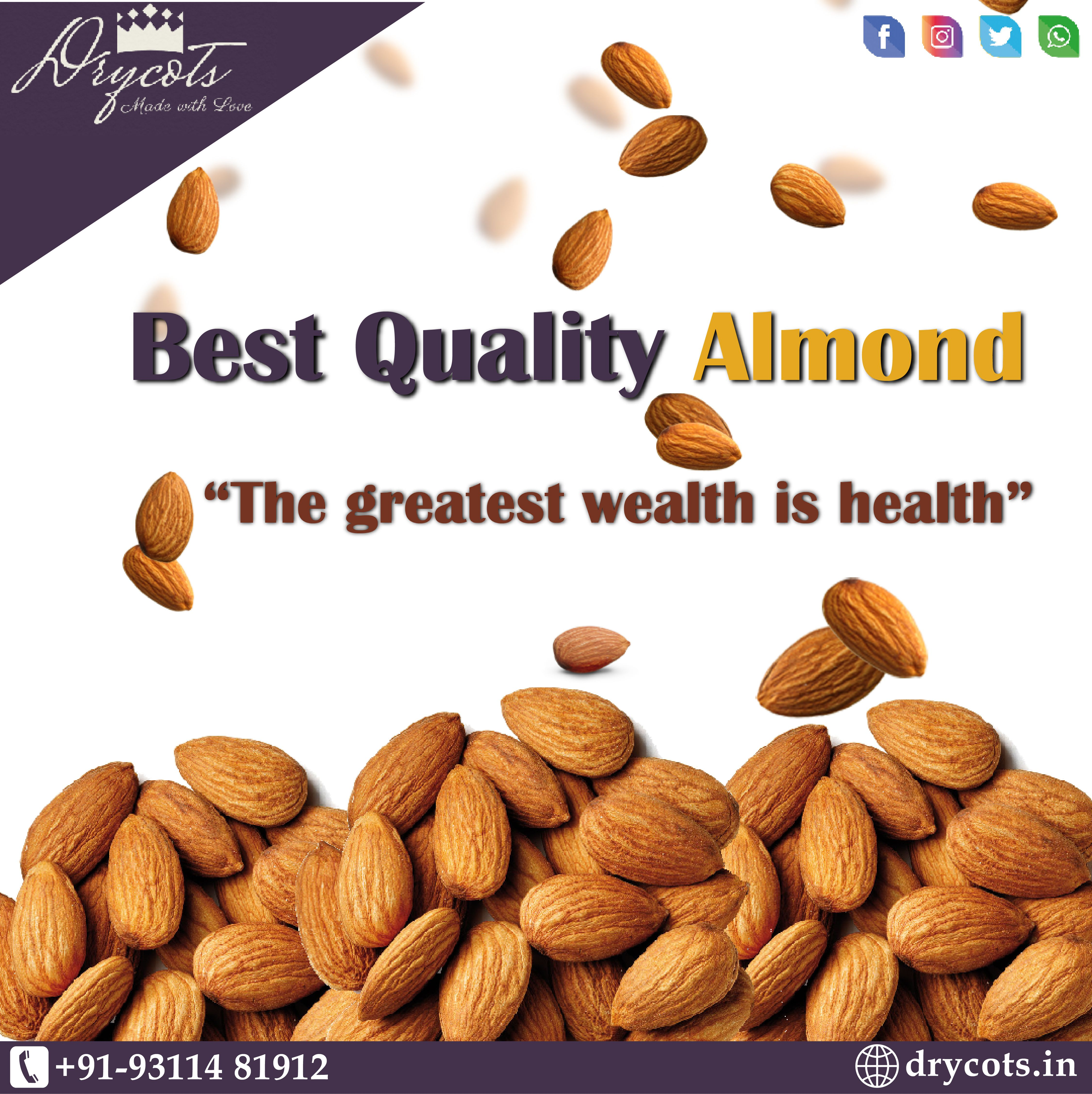 """""""The greatest wealth is health"""" Best Quality Almond - Best price . Drycots_made_with_love call - +91-9311481912 #dryfruits #dryfruitsandnuts #drycots #almond #bestprice #dryfruit #nuts #almondsindia #dryfruitindia #wholesalenuts #bestnuts #reasonableprice #nutsforbaking #healthynuts #almonds #fitnessfood #health"""