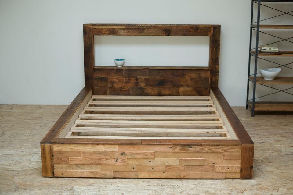 Reclaimed Wood Bed Bed Frame And Headboard Platform Bed Diy Bed