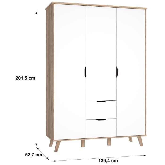 Vankka Armoire De Chambre Style Scandinave Decor Chene Et Blanc Mat Pieds En Bois Massif L 140 Cm Armoire Chambre Armoire Chambre Style Scandinave