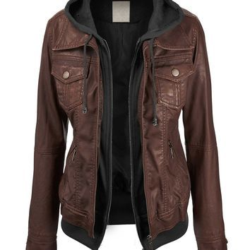 Ladies faux leather bomber jacket with hood – Modern fashion ...