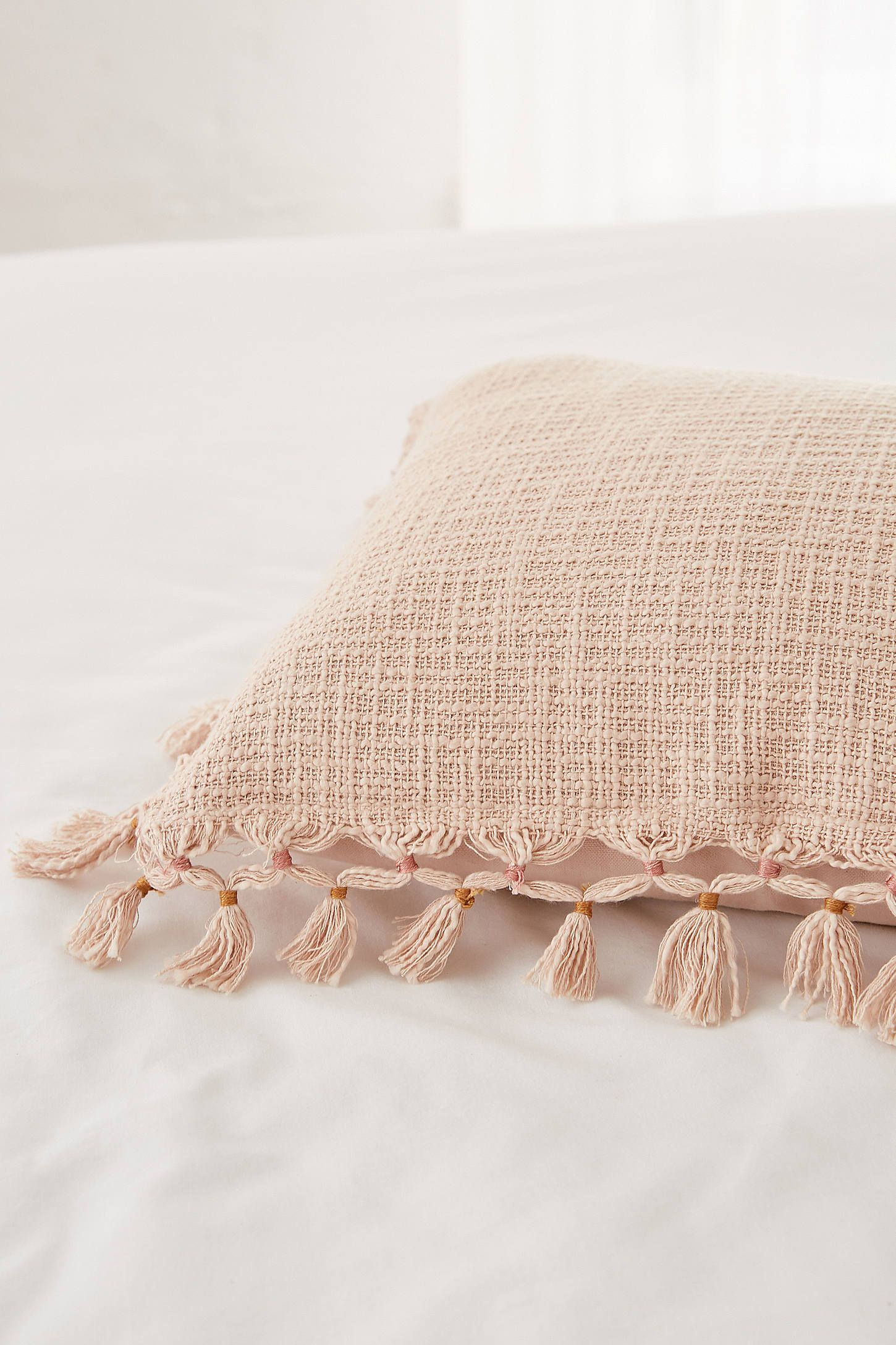 Gemma Cuscini.Pale Pink Fringe Throw Pillow Throw Pillows Pink Throw Pillows