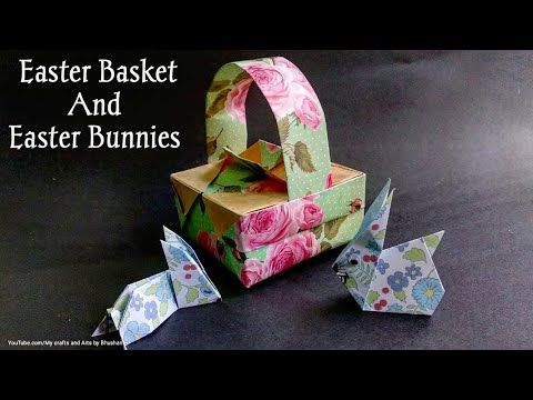 Photo of Origami Easter Basket with Easter Bunnies ( Rabbits)