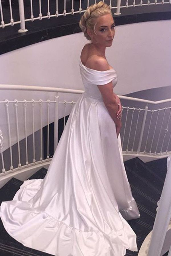 Sweetheart Off The Shoulder White Long Wedding Dress With Train ...