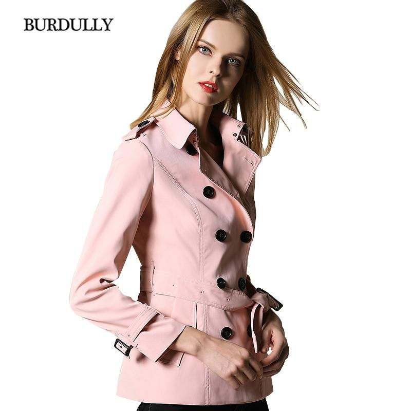 a42b1ce7a6716 BURDULLY British Style Short Trench Coat For Women Winter Autumn Double  Breasted Slim Trench Coats Windbreaker