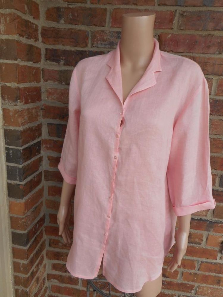 DANA BUCHMAN 100% Linen Tunic Blouse L Large Shirt Top 3/4 Sleeve Pink #DanaBuchman #Blouse #Casual