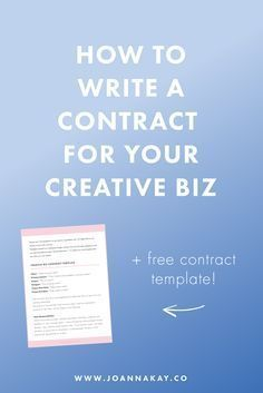 How To Write A Contract For Your Create Biz  Free Contract