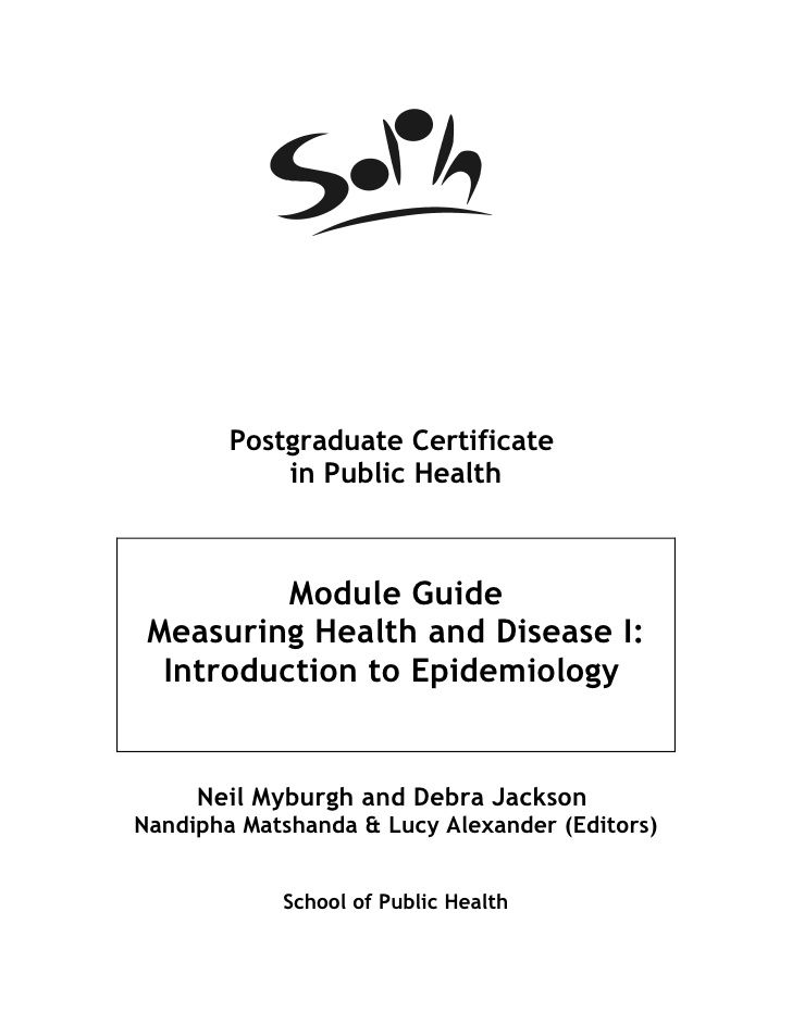 Measuring Health And Disease I Introduction To Epidemiology Module
